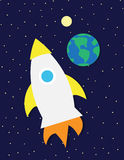 Rocket ship in space Stock Photo