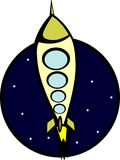 Rocket ship in the stars vector illustration Royalty Free Stock Photos
