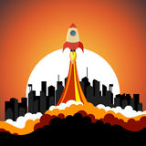 Rocket ship startup. Business startup concept.Rocket ship start from city on cityscape background.Vector illustration Stock Images