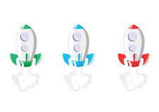 Rocket Ship. Three rocket ships red, blue and green, flying to space with a trail of smoke left behind royalty free illustration