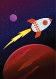 Rocket Ship Travel Through Planets en espacio Fotos de archivo libres de regalías