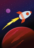 Rocket Ship Travel Through Planets no espaço Fotos de Stock Royalty Free
