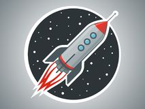 Rocket ship vector illustration. Space travel. Project start up and development process. Space transport stock illustration