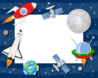 Rocket Shuttle Satellites Horizontal Frame. Horizontal photo frame with planets of the solar system, the Earth, the Moon, a red rocket, a space shuttle, a stock illustration