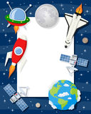 Rocket Shuttle Satellites Vertical Frame. Vertical photo frame with planets of the solar system, the Earth, the Moon, a red rocket, a space shuttle, a spacecraft stock illustration