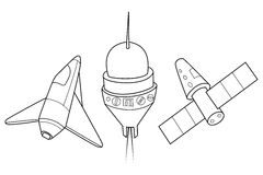 Rocket, shuttle and spaceship. A set of space ships. Rocket, shuttle and spaceship vector illustration. A set of space ships. Coloring book vector illustration