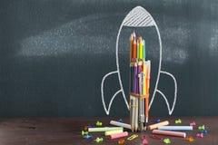 Rocket Sketch On Blackboard images libres de droits