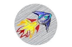 Rocket Sketch mit Hintergrund Stockbilder