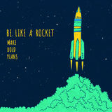 Rocket sketched vector illustration with clouds Royalty Free Stock Photos