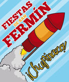 Rocket in the Sky Celebrating Spanish Chupinazo in San Fermin, Vector Illustration. Poster with a red and yellow rocket crossing the festive sky to begin the Stock Photo