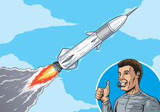 Rocket in sky Stock Photo