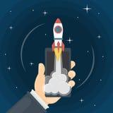 Rocket in smartphone. vector illustration