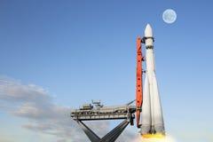 Rocket Soars dans le ciel Photos stock