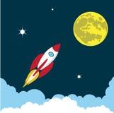 Rocket soars into the sky color illustration vector illustration
