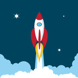 Rocket soars into the sky color illustration Royalty Free Stock Images