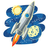 Rocket in Space. Vector illustration with rocket flying through Outer Space Stock Photo