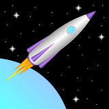 Rocket in space. Royalty Free Stock Photo