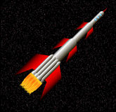 Rocket in space. Stylized illustration of rocket ship in space Stock Images