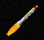 Rocket in space. Illustration of rocket ship in space Royalty Free Stock Photography