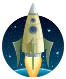Rocket in Space Royalty Free Stock Photos