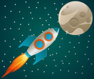 Rocket in space. Illustration representing a rocket flying to a random planet or moon vector illustration