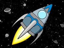 Rocket in Space. Cartoon rocket in Space - dark background Royalty Free Stock Photo