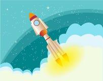 Rocket In The Space-achtergrond Stock Afbeeldingen
