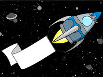 Rocket in Space with blank banner Royalty Free Stock Photo