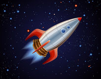 Rocket in space. Cartoon illustration of space ship Stock Photo