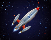 Rocket in space. Cartoon illustration of space ship Royalty Free Stock Photo