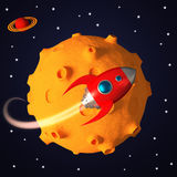 Rocket in space in cartoon style Royalty Free Stock Photos
