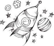 Rocket Space Doodle Sketch Vector Arkivbild