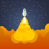 Rocket and the space. Evening rocket launch. Concept.  Start up, Stock Images