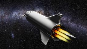 Starship in space flying towards the galaxy vector illustration