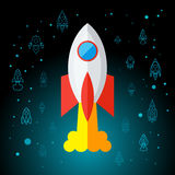 Rocket In Space Flat Icon Image libre de droits