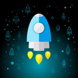 Rocket In Space Flat Icon Images libres de droits