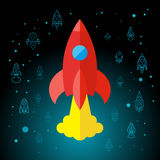 Rocket In Space Flat Icon Fotografia Stock Libera da Diritti