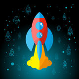 Rocket In Space Flat Icon Fotografie Stock