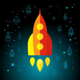 Rocket In Space Flat Icon Foto de archivo
