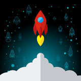 Rocket In Space Flat Icon Imagenes de archivo