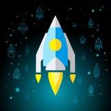 Rocket In Space Flat Icon aisló Foto de archivo libre de regalías
