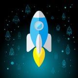 Rocket In Space Flat Icon aisló Fotografía de archivo libre de regalías