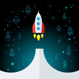 Rocket In Space Flat Icon aisló Imagenes de archivo