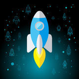 Rocket In Space Flat Icon a isolé Photographie stock libre de droits