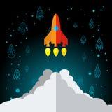 Rocket In Space Flat Icon isolerade Royaltyfria Foton