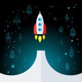 Rocket In Space Flat Icon isolerade Arkivbilder