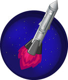 Rocket in space flying on a background of stars Royalty Free Stock Photos