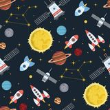 Rocket space globe solar system and planet cosmos sky seamless pattern background illustration. Flight spacecraft astronaut exploration travel shuttle Stock Illustration