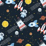 Rocket space globe solar system and planet cosmos sky seamless pattern background illustration. Flight spacecraft astronaut exploration travel shuttle Royalty Free Illustration