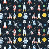 Rocket space globe solar system and planet cosmos sky seamless pattern background vector illustration. Flight spacecraft astronaut exploration travel shuttle Vector Illustration